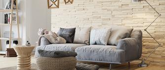 Nowoczesny dom: płytki kamienne, szkło i cegła dekoracyjna
