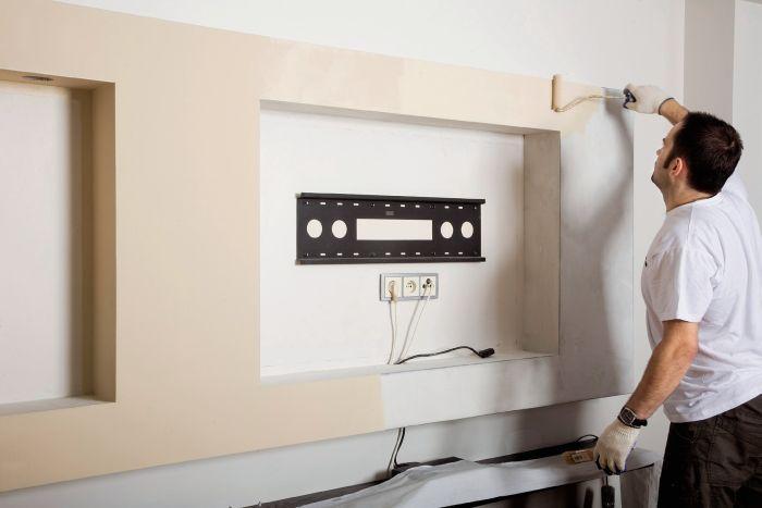 Дизайн из гипсокартона для телевизора